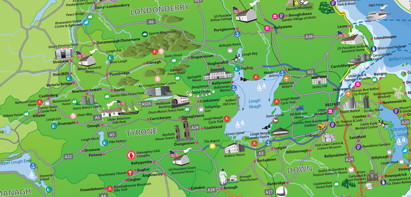 Northern Ireland Tourism Map Web Design – Ireland Tourist Attractions Map